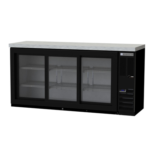 """Beverage Air BB72HC-1-F-GS-B-27 72""""W Three-Section Glass Door Refrigerated Food Rated Back Bar Storage Cabinet"""