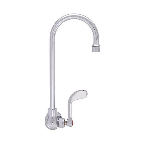 "Fisher 20214 6"" Swivel Gooseneck Spout Brass Backsplash Mount Single Inlet Faucet"
