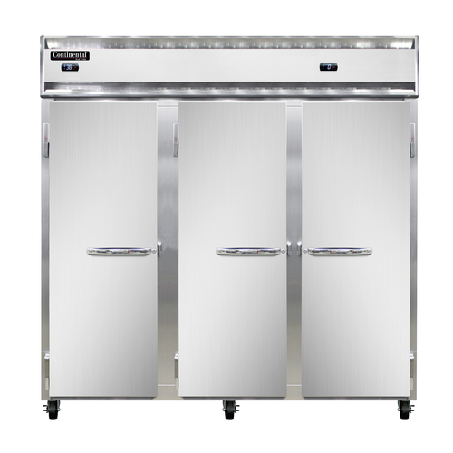 "Continental Refrigerator 3RFF-SA 78"" W Three-Section Solid Door Reach-In Refrigerator/Freezer"