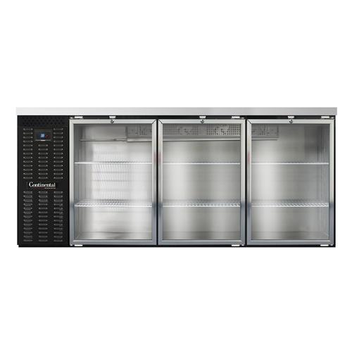 "Continental Refrigerator BB79SNGD 79""W Glass Door Refrigerated Back Bar Cooler"