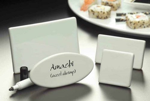 """American Metalcraft CMP425 3-3/4""""W White Ceramic Menu/Card Sign - 72 Each/Case"""