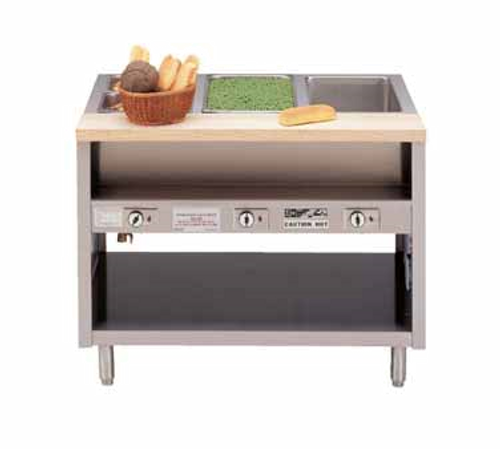 Piper Products DME-4-OS Stainless Steel 4 Pan Pipermatic Serving Counter Open Cabinet Base