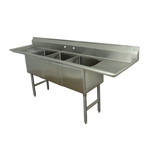 "Advance Tabco FC-3-1818-18RL-X 85"" - 96"" Stainless Steel 3 Compartment Left Drain Fabricated Sink 18"" x 18"" x 14"" Deep"