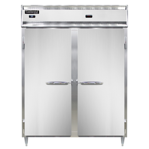 "Continental Refrigerator DL2RWE-SS-PT 57"" W Two-Section Pass-ThruDesigner Line Refrigerator/Heated Cabinet"