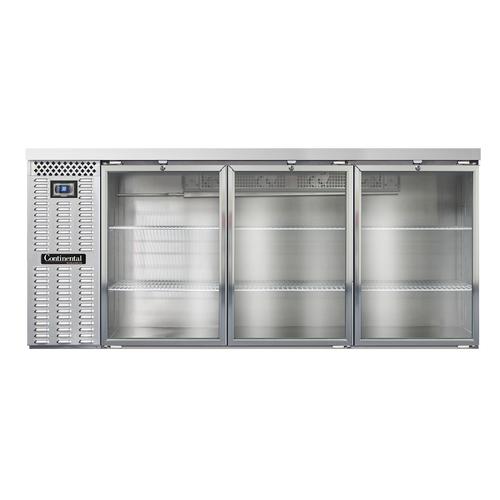 "Continental Refrigerator BB79SNSSGD 79""W Glass Door Refrigerated Back Bar Cooler"
