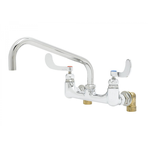 """T&S Brass B-0290-04 Big-Flo Mixing Faucet wall mount 8"""" adjustable centers 12"""" swing nozzle with plain end outlet 4"""" wrist handles with color coded indexes"""