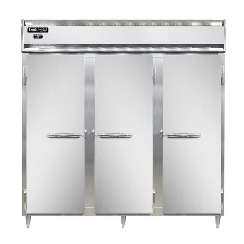 "Continental Refrigerator DL3R-SA-PT 78""W Three-Section Steel Door Designer Line Refrigerator"