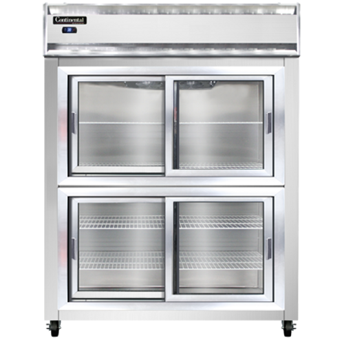 "Continental Refrigerator 2RENSSSGDHD 57"" W Two-Section Glass Door Reach-In Extra-Wide Refrigerator"