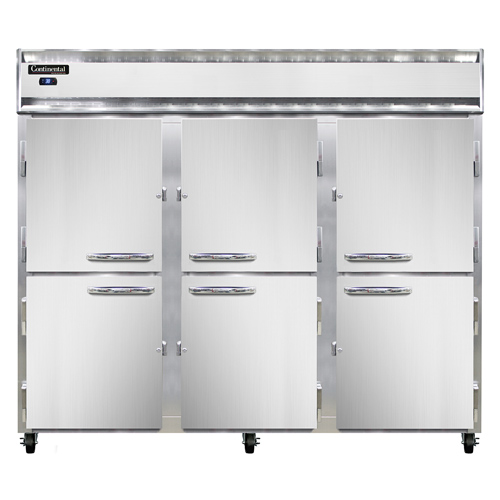 """Continental Refrigerator 3RESNHD 85.5"""" W Three-Section Solid Door Reach-In Extra-Wide Refrigerator"""