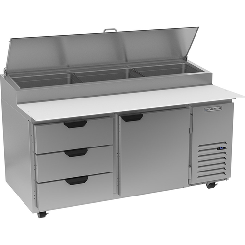 "Beverage Air DPD67HC-3 67"" W Two-Section One Door One Door Pizza Top Refrigerated Counter"