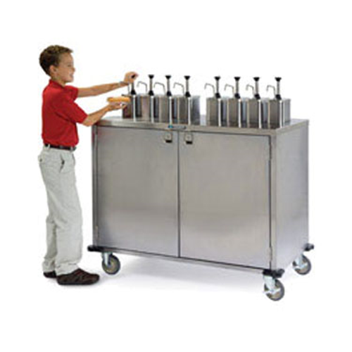 "Lakeside 70200 Stainless Steel Condiment Cart Casters with Brakes 50-1/4""W x 27-1/2""D x 47""H"