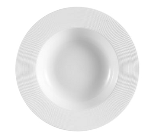 "CAC China TST-3  8-3/4""  8-1/2 oz  Porcelain  Super White  Round  Transitions Soup Plate"