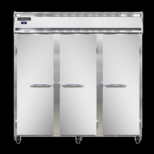 "Continental Refrigerator 3RSNSA 78"" W Three-Section Solid Door Reach-In Refrigerator"