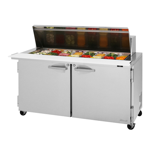 "Turbo Air PST-60-24-N 60.25"" W Two-Section Two Door PRO Series Mega Top Sandwich/Salad Prep Table"