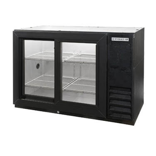 """Beverage Air BB48HC-1-F-GS-S-27 48""""W Two-Section Glass Door Refrigerated Food Rated Back Bar Storage Cabinet"""