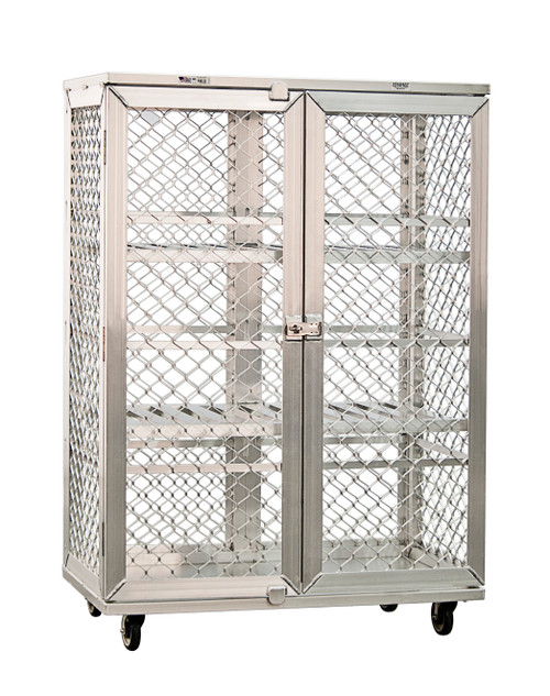 """New Age 97621 Security Cage Mobile 49""""W Intermediate Shelves Double Doors With Stainless Steel Hasp All Welded Aluminum Construction"""