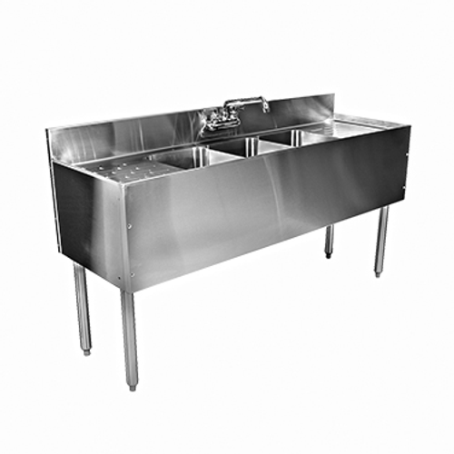 """Glastender  C-TSB-72  Stainless Steel Top Front Ends & Legs  Left & Right Drain  CHOICE Underbar Sink Unit  72"""" x 24"""""""