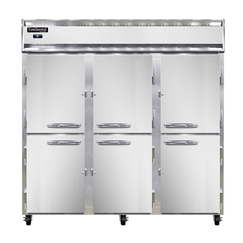 "Continental Refrigerator 3R-SS-PT-HD 78""W Three-Section Solid Door Refrigerator"