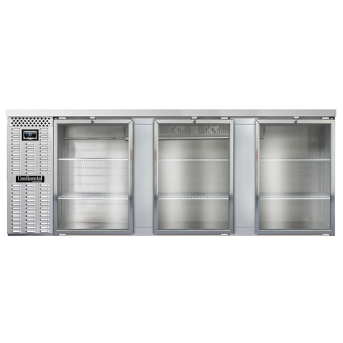 "Continental Refrigerator BB90NSSGD 90""W Glass Door Refrigerated Back Bar Cooler"