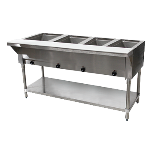 Advance Tabco SW-4E-120-X 4 Pan Electric Hot Food Table Open Shelf Base - 120 Volts