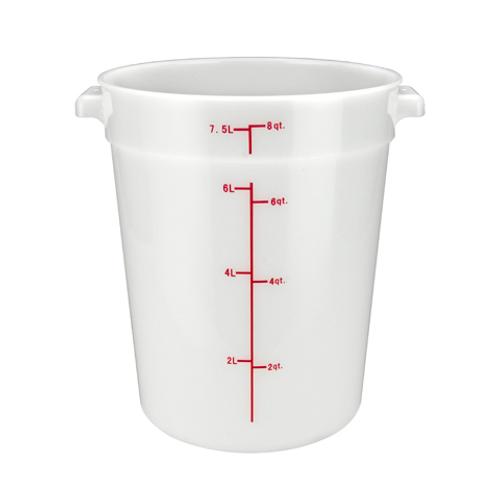 Winco PPRC-8W 8 Qt. White Round Polypropylene Storage Container