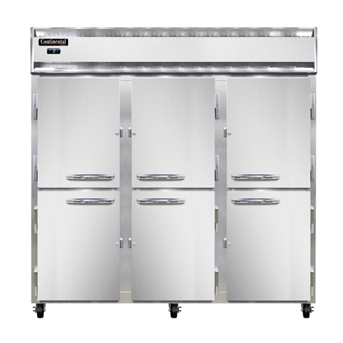 "Continental Refrigerator 3F-PT-HD 78""W Three-Section Solid Door Pass-Thru Freezer"