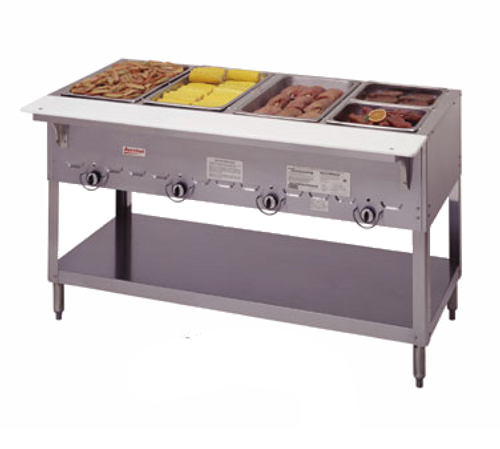 Duke 304-NG 4 Pan Natural Gas AeroHot Steamtable Hot Food Unit Open Base with Undershelf