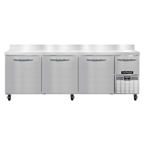 """Continental Refrigerator RA93NBS 93""""W Four Door Stainless Steel Refrigerated Base Woktop Unit With 6""""H Backsplash"""
