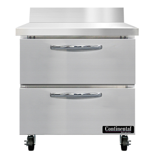 "Continental Refrigerator SWF32NBS-D 32""W Two Drawer Stainless Steel Work Top Freezer With 5 1/2""H Backsplash"