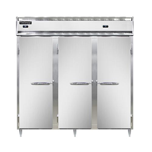 "Continental Refrigerator DL3RFF-SS-PT 78"" W Three-Section Solid Door Pass-Thru Designer Line Refrigerator/Freezer"