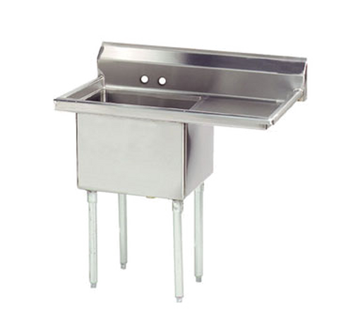 """Advance Tabco FE-1-2424-24R-X 40"""" - 53"""" 18-Gauge Stainless Steel One Compartment Special Value Fabricated Sink With Right-Hand Drainboard 24"""" x 24"""" x 14"""" Deep"""