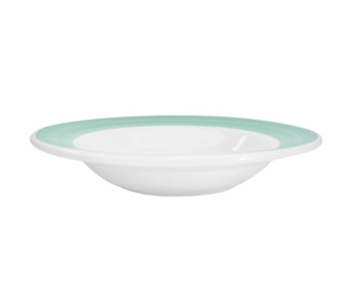 "CAC China R-115-G  11-3/8""  24 oz  Ceramic  Green  Round  Rainbow Pasta Bowl"