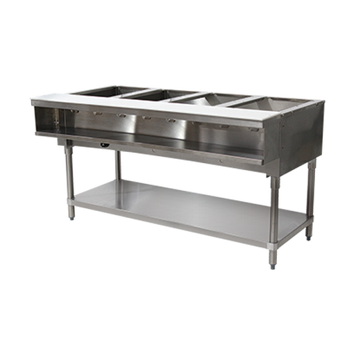 Advance Tabco WB-4G-LP-X 4 Pan Liquid Propane Water Bath Hot Food Table Open Base with Undershelf - 25,000 BTU
