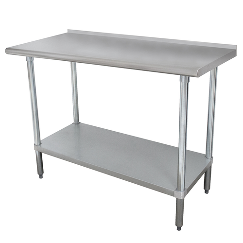 """Advance Tabco FLAG-368-X 96""""W X 36""""D 16 Gauge 430 Series Stainless Steel Top Work Table"""