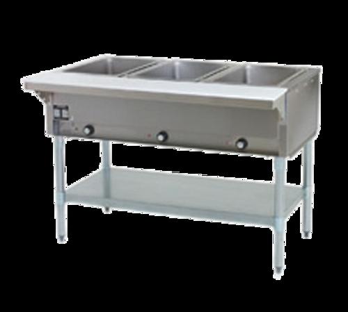 Eagle Group HT3-LP 3 Pan Liquid Propane Hot Food Table Open Base with Undershelf