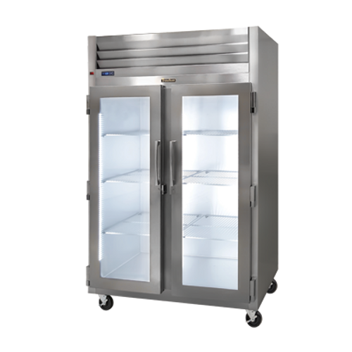 "Traulsen G21007P 52.13""W Two-Section Glass Door Dealer's Choice Display Refrigerator"