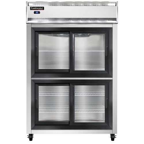 """Continental Refrigerator 2RSNSGDHD 52"""" W Two-Section Glass Display Reach-In Refrigerator"""