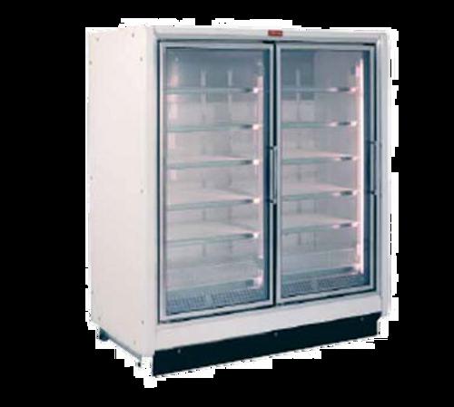 "Howard McCray Rin2-24-LED 54.88"" W Two-Section Glass Door Refrigerator Merchandiser"