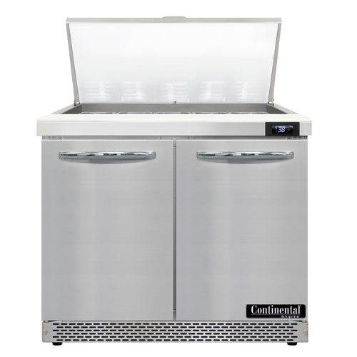 """Continental Refrigerator D36N15M-FB 36"""" W Two-Section Two Door Designer Line Mighty Top Sandwich Unit"""