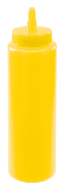 Winco PSB-08Y 8 oz Yellow Plastic Squeeze Bottle - 12 Pack/Case