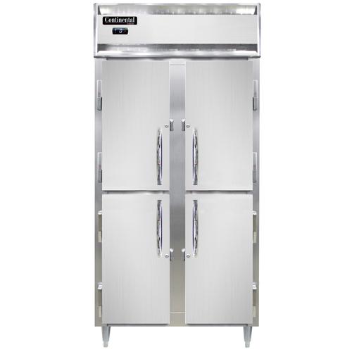 "Continental Refrigerator DL2FSE-SS-HD 36.25"" W Two-Section Solid Door Reach-In Designer Slim Line Freezer"