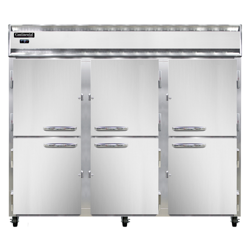 "Continental Refrigerator 3FE-SS-PT-HD 85.5"" W Three-Section Solid Door Pass-Thru Extra-Wide Freezer"