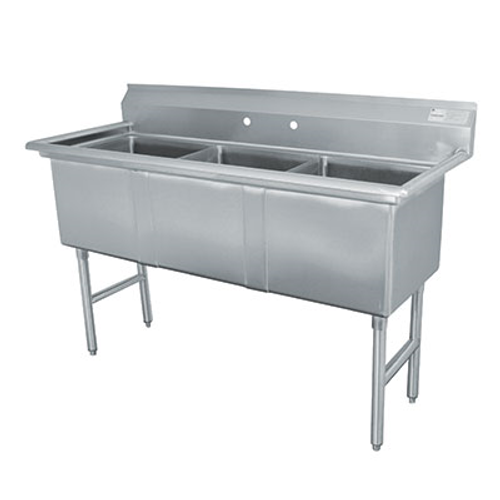 """Advance Tabco FC-3-1818-X 54"""" - 62"""" Stainless Steel 3 Compartment Fabricated Sink 18"""" x 18"""" x 14"""" Deep"""