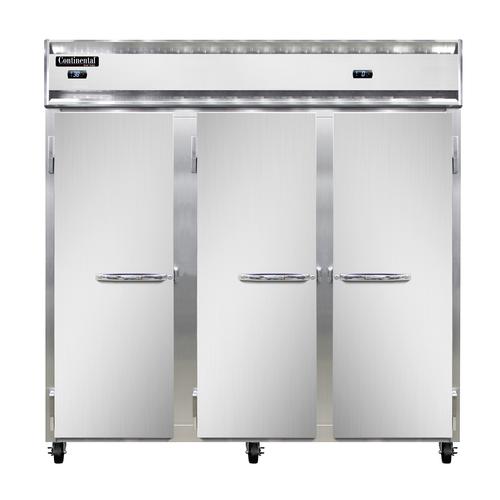 "Continental Refrigerator 3RFF-SS 78"" W Three-Section Solid Door Reach-In Refrigerator/Freezer"