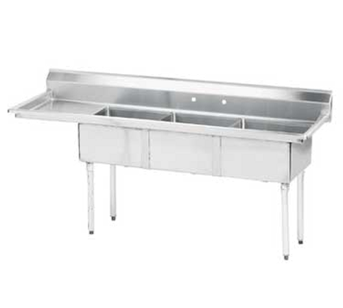 """Advance Tabco FE-3-1620-18L-X 63"""" - 72"""" Stainless Steel 3 Compartment Left Drain Special Value Fabricated Sink 16"""" x 20"""" x 12"""" Deep"""