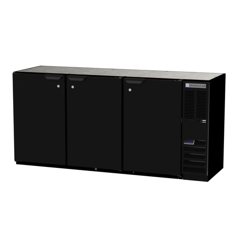 "Beverage Air BB72HC-1-S 72""W Three-Section Solid Door Refrigerated Back Bar Storage Cabinet"