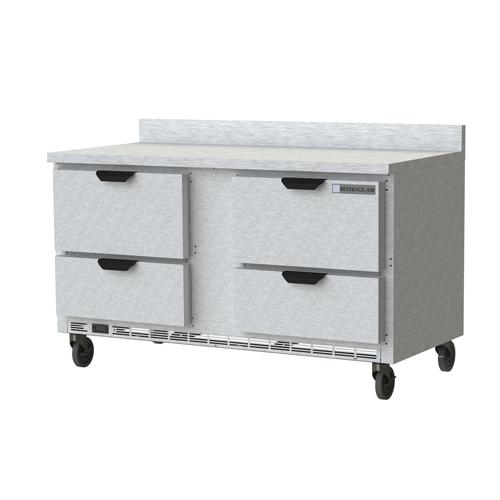 "Beverage Air WTRD60AHC-4-FIP 60""W Two-Section Worktop Refrigerator Backsplash"