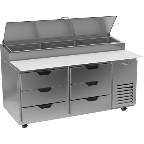 """Beverage Air DPD67HC-6 67"""" W Two-Section Pizza Top Refrigerated Counter"""