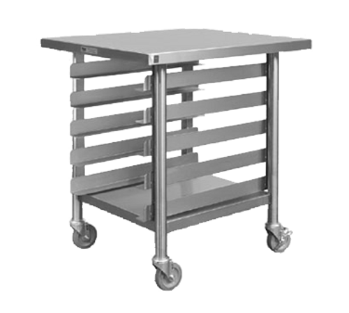 "Piper Products 331-3424 Slicer Stand Mobile Open Base with Pan Rack Stainless Steel tubular Base with Marine Edge Top 4"" Casters"