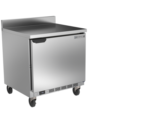 """Beverage Air WTF32AHC 32""""W One Door Stainless Steel Worktop Freezer With 4"""" Removable Backsplash"""